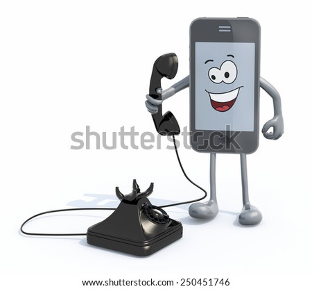 cartoon smartphone with arms and legs use an old telephone, 3d illustration - stock photo