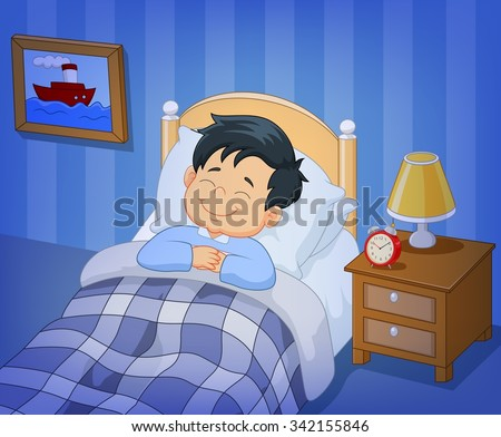 Cartoon smile little boy sleeping in the bed - stock photo