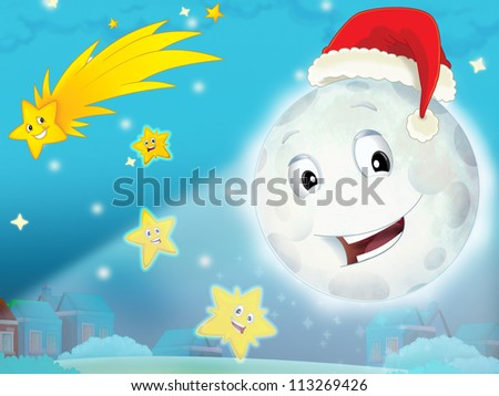 Cartoon smiling moon by the night with the stars - christmas friends - illustration for the children - stock photo