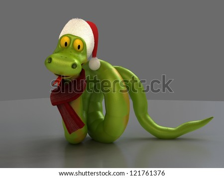Cartoon Snake With Santa Hat and Scarf - stock photo