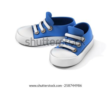 cartoon sneakers 3d illustration - stock photo