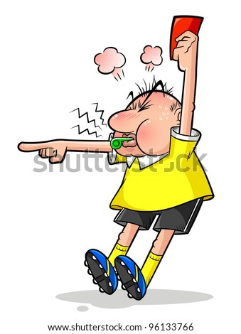 cartoon soccer referee pointing and holding a red card (raster version) - stock photo