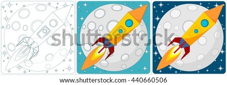 Cartoon Space Rocket on a Background of Yellow Moon and a Starry Blue Sky in the Space. Set. Stock illustration. - stock photo