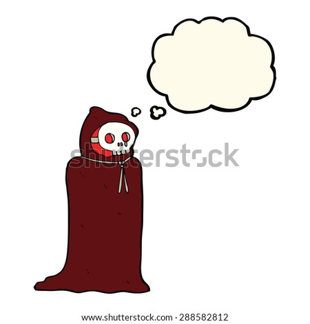 cartoon spooky halloween costume with thought bubble - stock photo