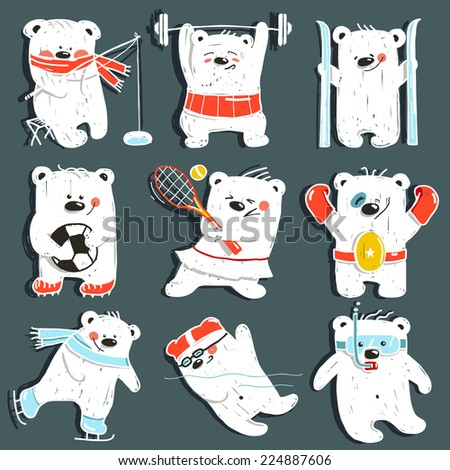 Cartoon Sport Bears in Action Collection. Nine athletic simple bears set. Raster variant. - stock photo