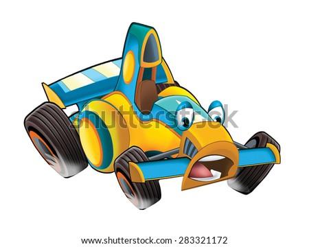 Cartoon sports car racing - illustration for the children - stock photo
