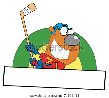 Cartoon Sporty Bear Playing Ice Hockey
