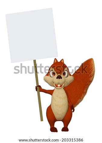 cartoon squirrel with a blank frame - stock photo
