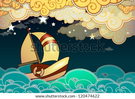 Sailing Boat Cartoon Cartoon Stile Ship Sailing in