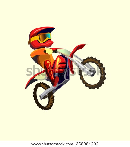 Cartoon style biker making  trick a stunt and jumps in the air  illustration