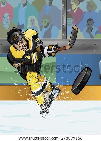 Cartoon-style illustration: a shooting hockey player  - stock photo