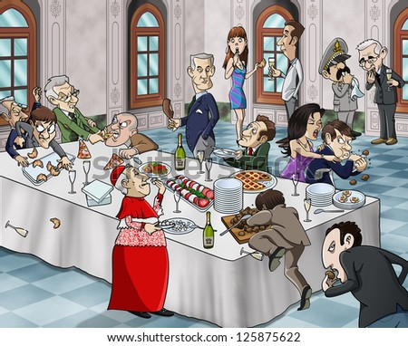 Cartoon-style illustration of a bizarre buffet meal: grotesque characters eating and fighting for food Location: luxury hall