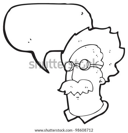 cartoon talking genius scientist - stock photo