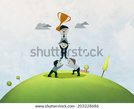 Cartoon team of people supporting each other, - stock photo