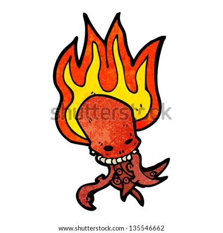 cartoon tentacle skull - stock photo