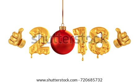 Cartoon thumbs up with a Christmas ball on a background isolated 2018 Numbers Honey golden color. New Year's poster for children. 3d render.