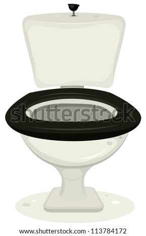 Cartoon Toilets/ Illustration of a cartoon open water closet for your convenience - stock photo