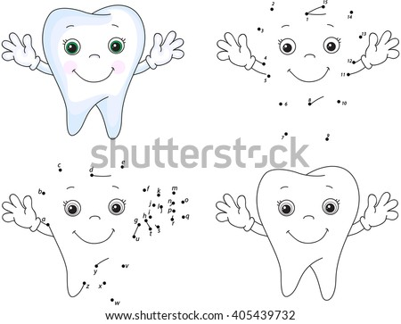 Cartoon Tooth Smiles Coloring Book And Dot To Educational Game For Kids