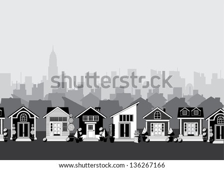 Cartoon town. jpg - stock photo