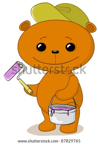 cartoon, toy teddy bear worker house painter with a tool and a bucket of paint
