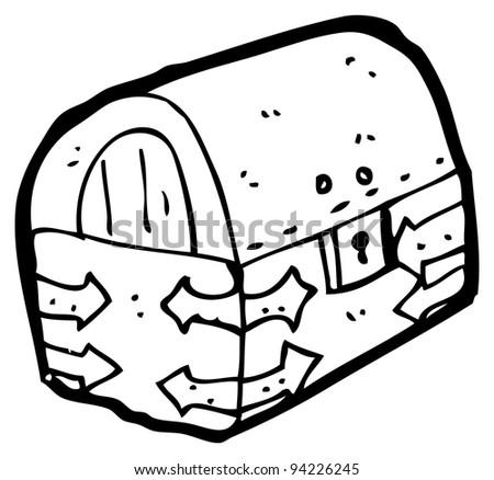 cartoon treasure chest (raster version) - stock photo