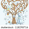 Cartoon tree with birds and snow, card for Christmas or New Year design - stock photo