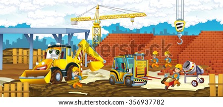 Cartoon truck and excavator - vehicles and workers - illustration for the children - stock photo