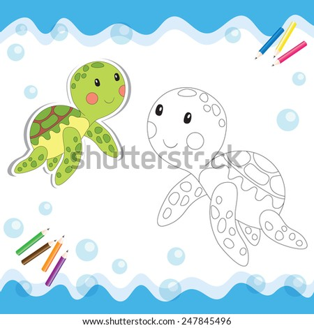 Cartoon turtle isolated on white. Coloring book. - stock photo