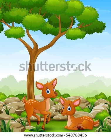 Cartoon two deer in the jungle