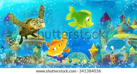 Cartoon underwater animals - illustration for the children - stock photo