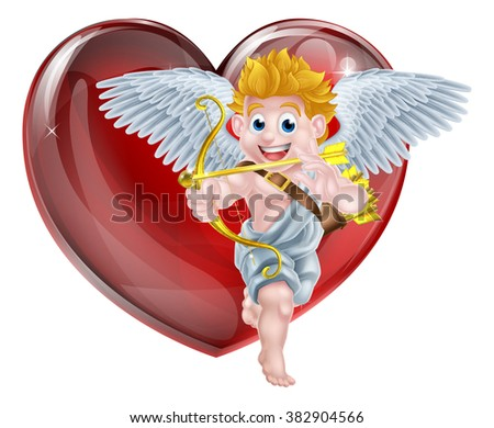 Cartoon valentines day cupid winged angel character shooting his gold bow and heart arrow in front of a big red valentines heart