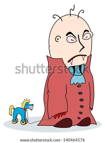 Cartoon Vampire with a toy on wheels. - stock photo