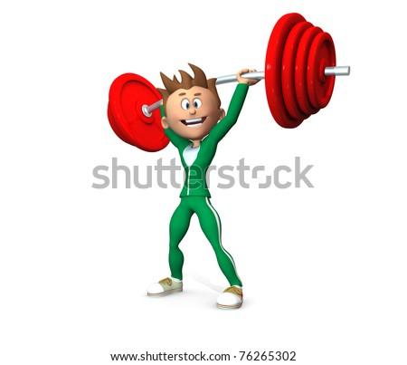 Cartoon Weightlifter - stock photo