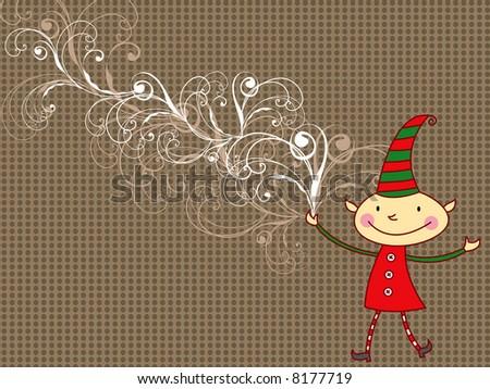 cartoon whimsical cartoon elf (raster) - stock photo