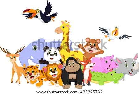 Cartoon wild animals - stock photo