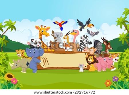 Cartoon wild animals holding banner - stock photo