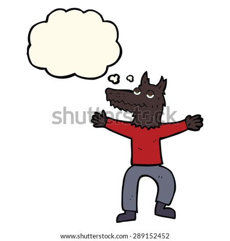 cartoon wolf man with thought bubble - stock photo