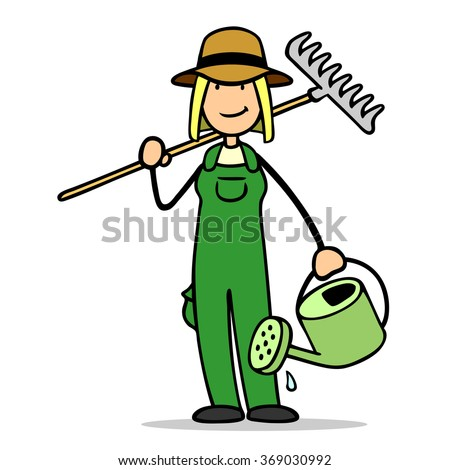 Cartoon Woman Gardener Tools Garden Work Stock Illustration ...