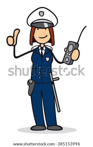 Cartoon woman as police officer holding her thumbs up