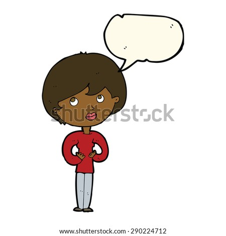 cartoon woman making Who Me? gesture with speech bubble - stock photo