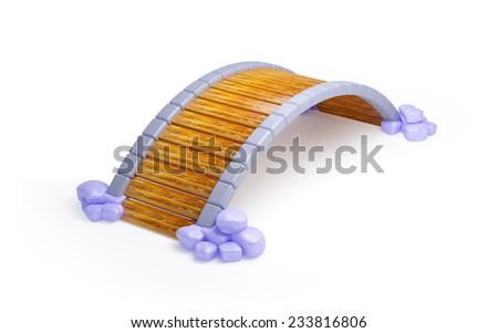 cartoon wooden bridge with stones isolated on white - stock photo
