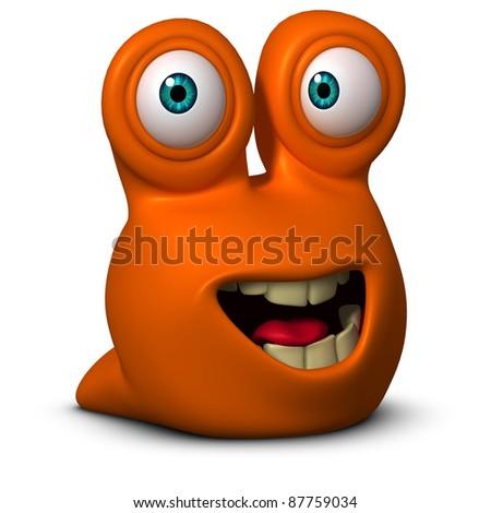 cartoon worm - stock photo