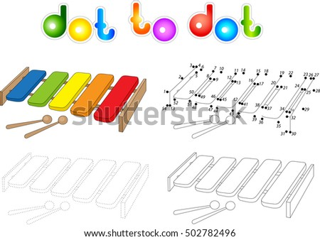 Cartoon Xylophone Coloring Book Isolated On White Dot To Educational Game For Kids
