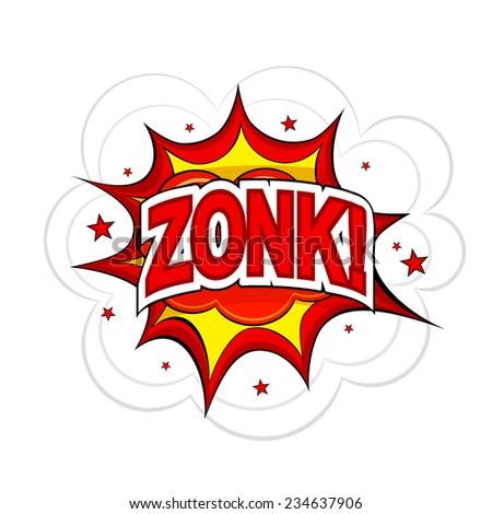 Cartoon ZONK! on a white background. Raster copy. - stock photo
