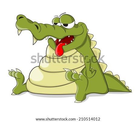 Cartooncute tired crocodile - stock photo