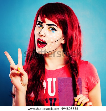 Cartoons Character Woman with Professional Comic Pop Art Make up