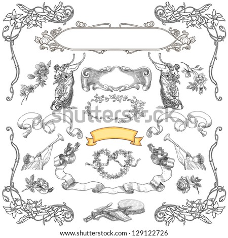Cartouches set illustration - stock photo