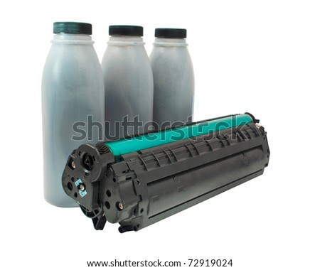 cartridge and toner on a white background - stock photo