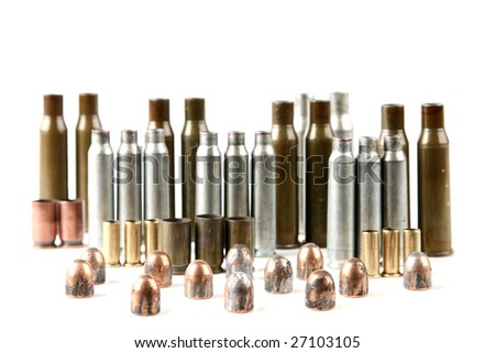 cartridge case of different weapons and pistol bullets