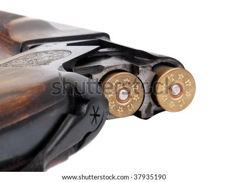Cartridge-chamber of shotgun closeup view - stock photo